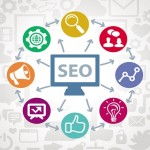 SEO abstract illustration with circles and icons